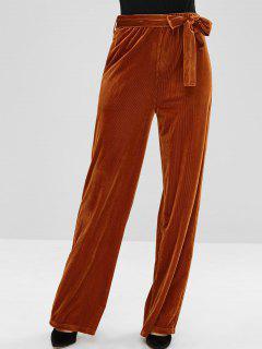 ZAFUL Wide Leg Velvet Pants With Belt - Brown M