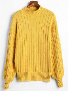 Cuello Falso Cuello Suelto Suéter Flojo - Amarillo