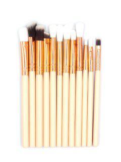 12 Pcs Soft Hair Cosmetic Eyeshadow Blending Makeup Brush Set - Blanched Almond