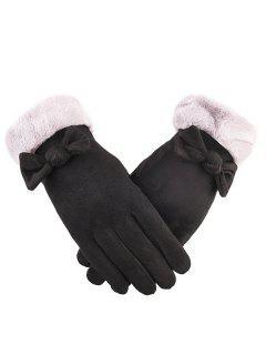 Bowknot Full Finger Suede Gloves - Black
