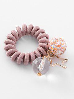 Planet Decoration Ponytail Holder Elastic Phone Line Hair Tie - Lipstick Pink