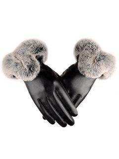Winter PU Leather Faux Fur Gloves - Black L
