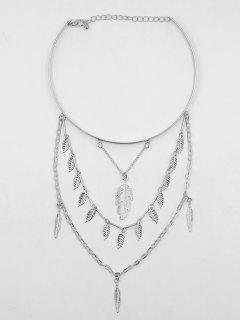 Feather Shape Leaves Tassel Choker Necklace - Silver