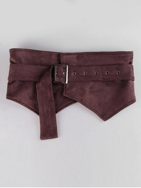 hot Adjustable Knotted Suede Wide Belt - COFFEE  Mobile