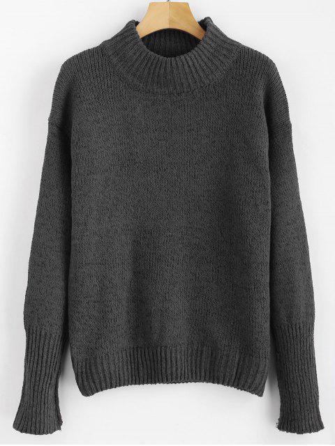 Gemischte Garn Pullover - Kohle Grau Eine Größe Mobile