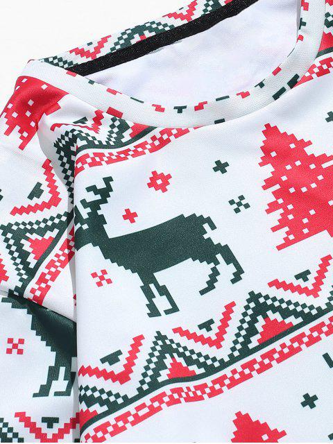 sale Christmas Tree Reindeer Print Sweatshirt - MULTI S Mobile