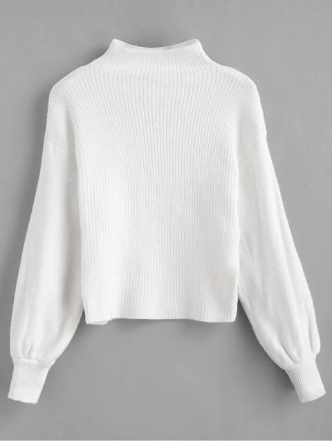 fashion Blouson Sleeve Ribbed Funnel Sweater - WHITE ONE SIZE Mobile