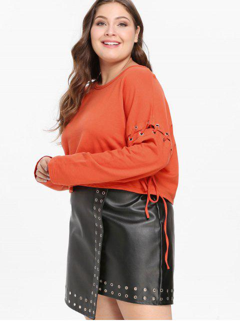 ZAFUL Plus tamanho Lace-up Drop Ombro Sweatshirt - Laranja Brilhante 2X Mobile