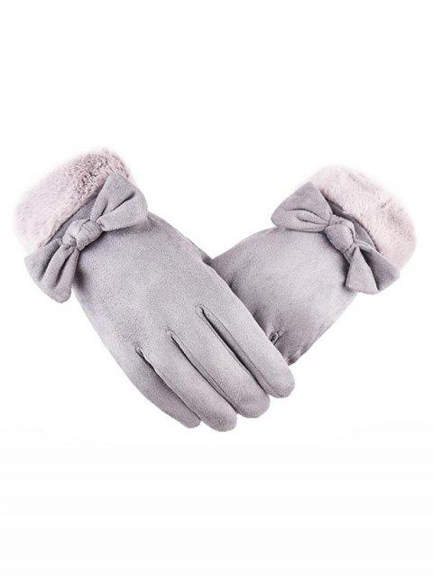affordable Bowknot Full Finger Suede Gloves - GRAY CLOUD  Mobile