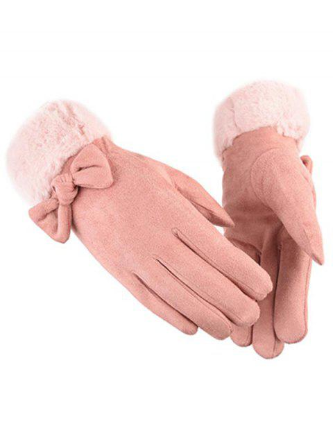 women Bowknot Full Finger Suede Gloves - PINK  Mobile