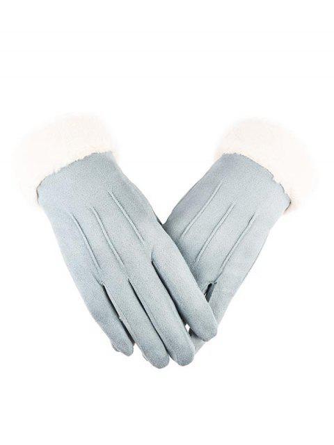 trendy Outdoor Full Finger Suede Pink Gloves - LIGHT CYAN  Mobile