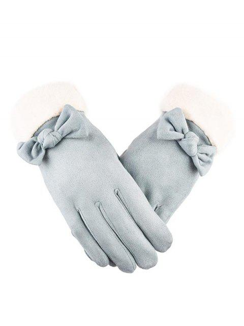 sale Bowknot Full Finger Suede Gloves - LIGHT CYAN  Mobile