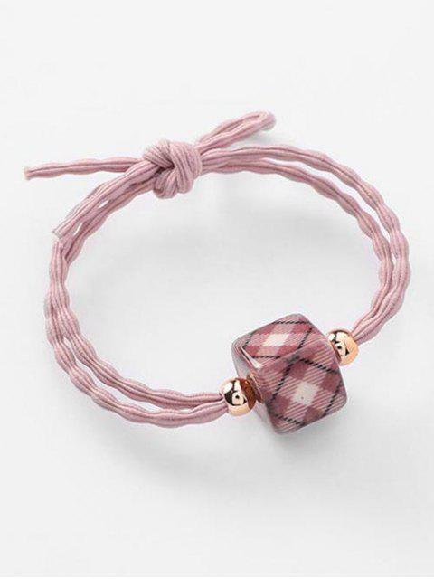 sale Elastic Bowknot and Plaid Pattern Hair Ties - PINK  Mobile