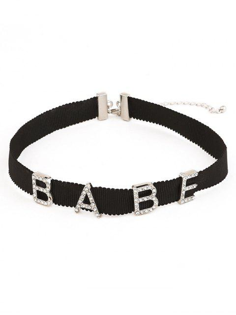 shop Rhinestone Inlaid Letter Choker Necklace - SILVER  Mobile