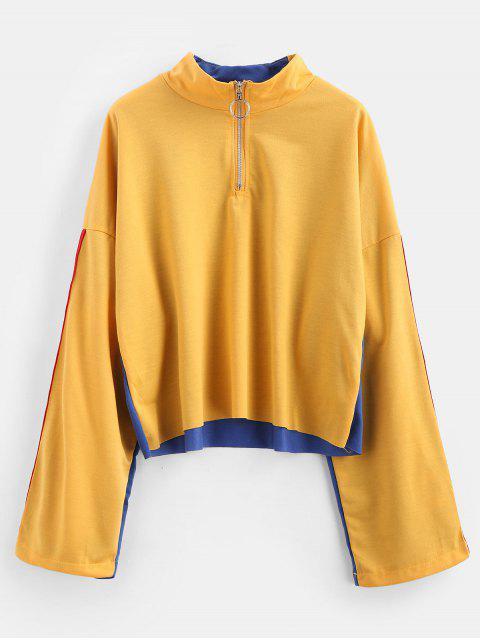 Half Zip Side gestreiftes Sweatshirt - Senf M Mobile