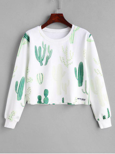 Sudadera con capucha de gráfico de cactus - Blanco M Mobile