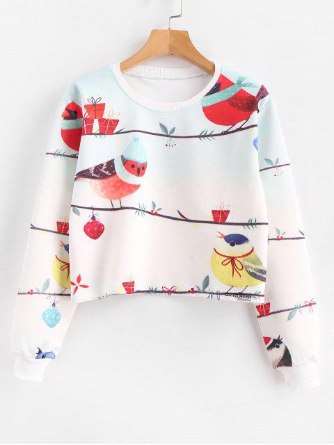 Birds Graphic Pllover - Kurzes Sweatshirt - Weiß S Mobile