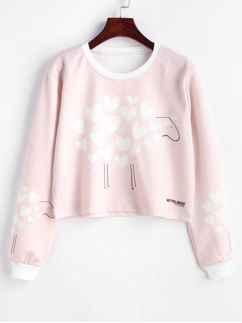 Sudadera Corta Gráfica Estampada Corazón - Rosa Claro M Mobile