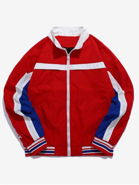 Remiendo de la raya chaqueta de rompevientos de letras bordadas - Rojo L Mobile