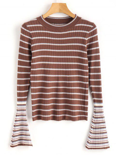 Abnehmen Flare Sleeve Stripes Sweater - Multi Eine Größe Mobile