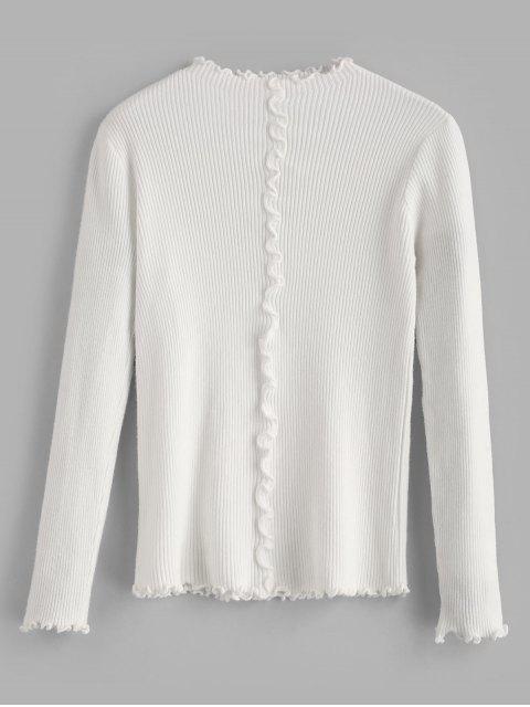 Suéter de lechuga acanalada - Blanco Talla única Mobile