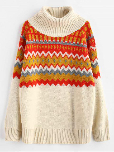 Suéter de cuello alto de zigzag - Multicolor Talla única Mobile