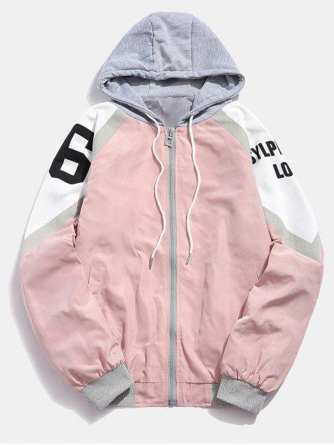 Remiendo de la letra de la chaqueta con capucha - Rosado M Mobile