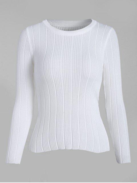 Gerippter Strick-Basic-Pullover - Weiß Eine Größe Mobile