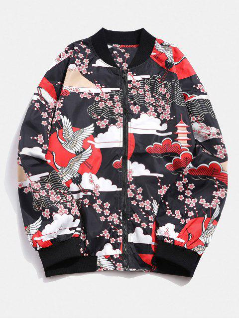 Japanische Crane Flower Print Leichte Jacke - Rot 2XL Mobile