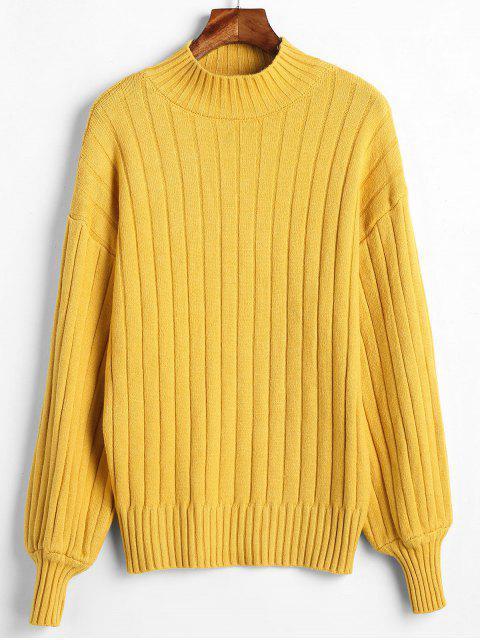 Mock Neck Drop Schulterfreier Pullover - Gelb Eine Größe Mobile