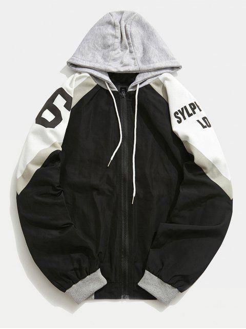 Veste à Capuche Lettre Patchwork - Noir XL Mobile