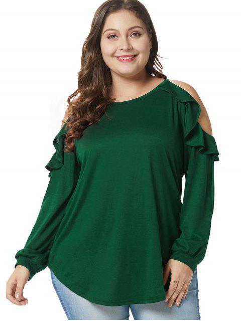 T-shirt Tunique de Grande Taille à Epaule Dénudée à Volants - Vert Foncé 3X Mobile