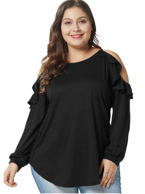T-shirt Tunique de Grande Taille à Epaule Dénudée à Volants - Noir 2X Mobile