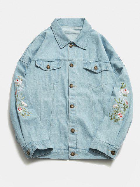 Veste Fleur Brodée en Denim - Bleu Ciel L Mobile