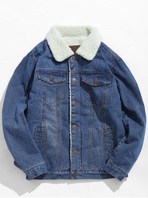Veste Epaisse à Doublure Fourrée en Denim - Bleu Léger  M Mobile