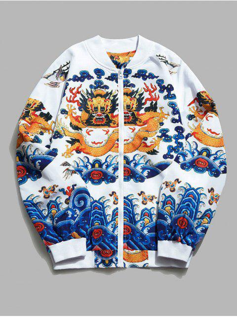 Veste Légère Motif de Dragon - Blanc XL Mobile