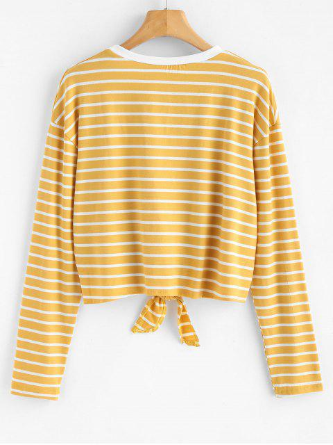 latest Tie Striped T-shirt - GOLDENROD L Mobile