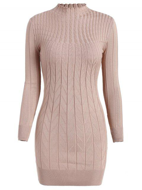 shop Cable Knit Longline Funnel Sweater - APRICOT ONE SIZE Mobile