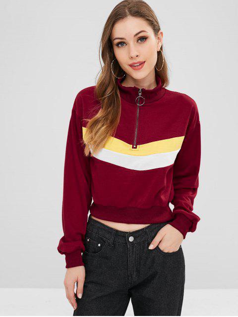 Mit Reißverschluss getäfeltes Sweatshirt mit Farbblock - Roter Wein S Mobile