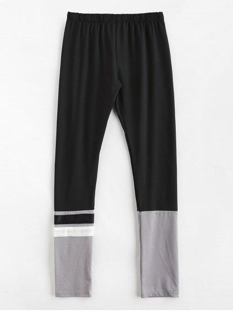 trendy Color Block Paneled Leggings - BLACK ONE SIZE Mobile