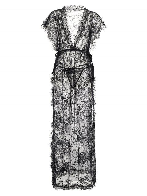 תחרה שקופה לחרך גבוה מקסי לבני נשים שמלה - שָׁחוֹר מידה אחת Mobile