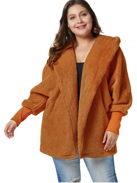 Abrigo túnica con capucha mullida talla grande - Marrón Claro 2X Mobile