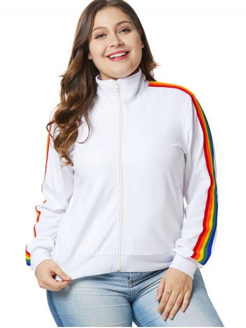 Chaqueta con cremallera Rainbow Trim Plus Size - Blanco 1X Mobile