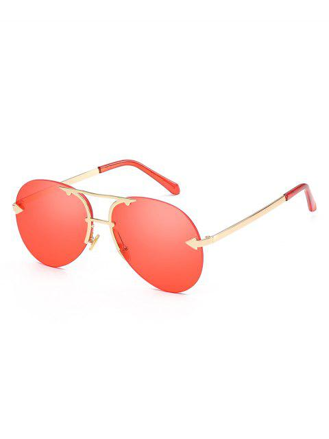 outfit Alloy Embellished Rimless Pilot Sunglasses - WATERMELON PINK  Mobile