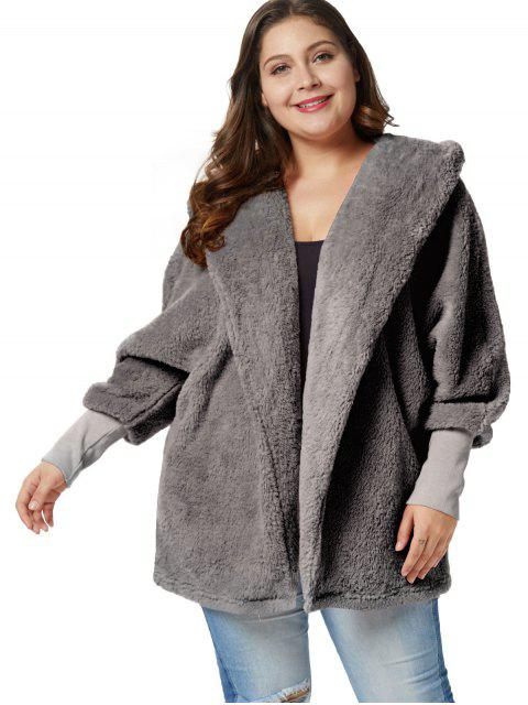 buy Plus Size Fluffy Hooded Tunic Coat - GRAY CLOUD 4X Mobile