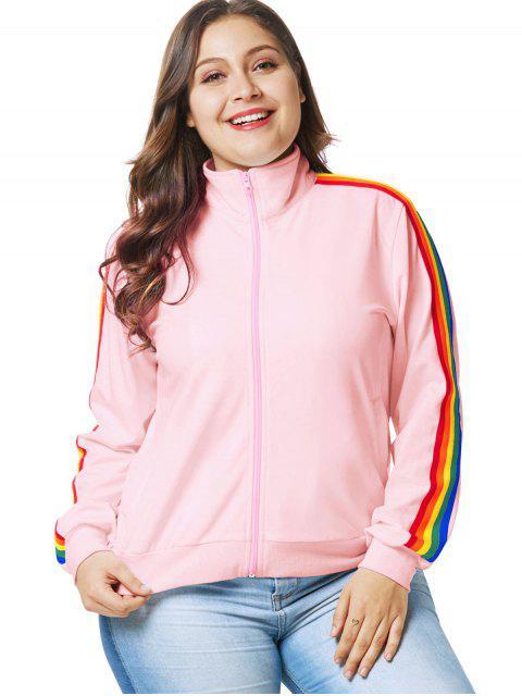 Regenbogenbesatz Plus Size Zip Jacket - Rosa 4X Mobile