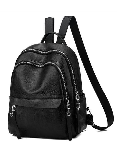 buy Layered Zipper Design PU Leather Backpack - BLACK  Mobile