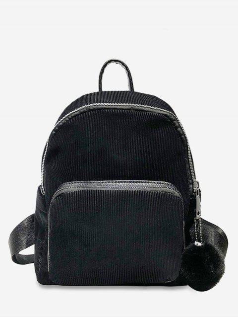 outfit Layered Zipper Corduroy Fluffy Ball Backpack - BLACK  Mobile