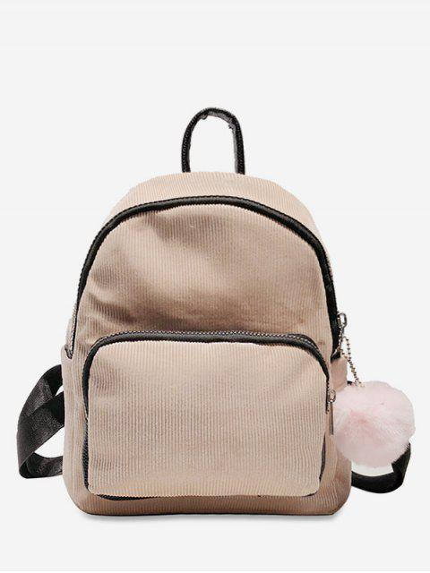 shop Layered Zipper Corduroy Fluffy Ball Backpack - PIG PINK  Mobile