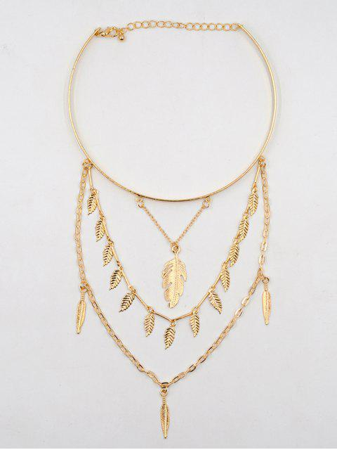trendy Feather Shape Leaves Tassel Choker Necklace - GOLD  Mobile